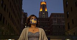 student wearing a mask at Lantern night